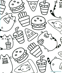 Pusheen Coloring Pages For Kids Sheets