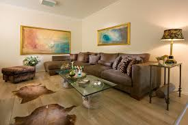 Beauty Elegant Living Room With Brown Furniture And Rug Animal Print Accents