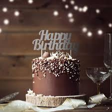 glitzer kuchen oder deko stecker happy birthday silber