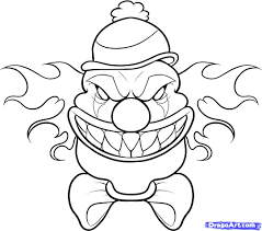 How To Draw A Scary Clown Step By Creatures Monsters FREE Cool Sketches