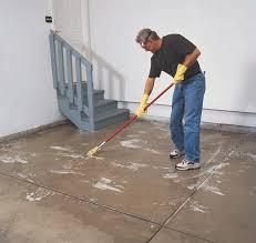 Rust Oleum Decorative Concrete Coating Applicator by How To Apply Rust Oleum Rocksolid Garage Floor Coating Do It Best
