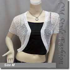 crochet shrug bolero topper white