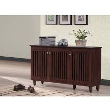 baxton studio riddle dark brown shoe cabinet with 3 doors free
