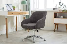 Porthos Home Adjustable Height Upholstered Contemporary Swivel Desk Chair  With Optional Caster Wheels, Easy Assembly, One Size, Grey
