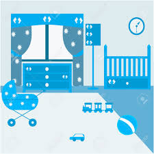 kinderzimmer für die neugeborenen jungen baby schlafzimmer mit möbeln kindergarten innenraum kinderwagen babybett kommode eine stehle blaue