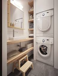 Saving Space Some Storage Shelves Baskets Or Hide Under The Kitchen Table Is A Brilliant Idea Checking 12 Tiny Laundry Room Below And Get Inspired