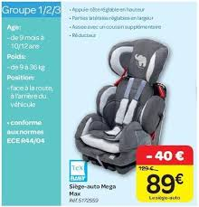 baby siege auto carrefour promotion siège auto mega max tex baby siège voiture
