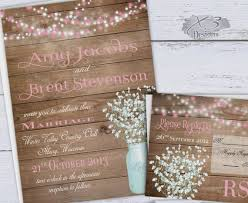 Rustic Wedding Invitation Printable Pink Spring Summer Country Invite Babys Breath Mason Jar String Lights