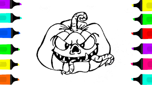 Halloween Pumpkin Drawing And Coloring For Kids
