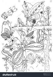Vector Illustration Coloring Page Anti Stress For Adults And Children Girl Butterflies Doodle