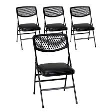 100 Event Folding Chair Cosco Commercial Black Metal With Vinyl Padded Seat