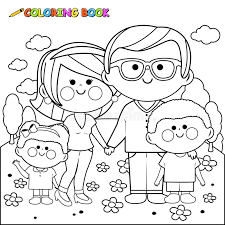 Download Happy Family At The Park Coloring Book Page Stock Vector