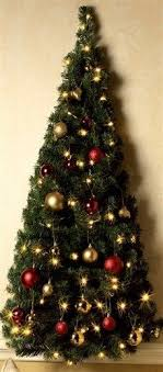 Pre Lit Wall Mount Half Christmas Tree Light Up Clear Led Lights Battery 31