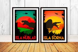 Jurassic Park Travel Poster Set Isla Nublar Sorna Site