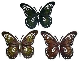 Butterfly Outdoor Wall Decor Colored Metal Set Of Three Butterflies Art Contemporary