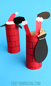 Toilet Paper Roll Chimney Santa Claus Craft For