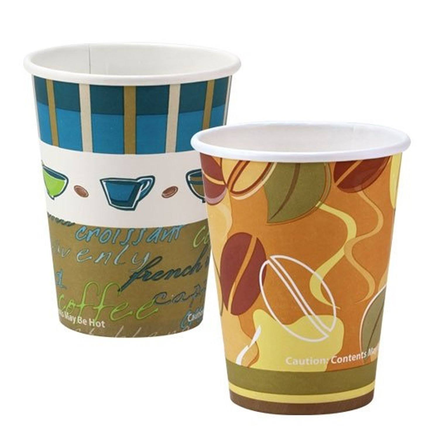 Nicole Home Paper Cup Coffee Bean Pattern Hot Cold 12oz 20ct