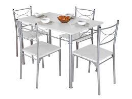 ensemble table rectangulaire 4 chaises tuti coloris blanc gris