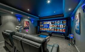 living room theater home theater contemporary with