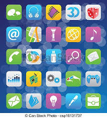Vector illustration of ios 7 style mobile app icons vectors