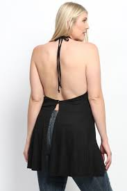 themogan women u0027s plus size open back halter tunic tank top flowy