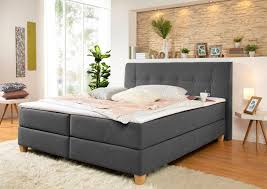 boxspringbett arlon mit federkern h3 landhaus stil grau material buche federn polyester kaltschaum