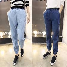 NEW Boyfriend Style Women Jeans Elastic Waist Leg Opening Denim Ninth Haren Pants Casual