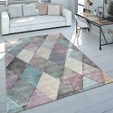 paco home teppich wohnzimmer bunt pastellfarben rauten muster 3 d design kurzflor robust grösse 60x110 cm
