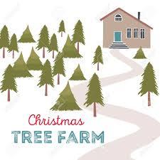Christmas Tree Farm Vector Illustration Trees For Sale Stock