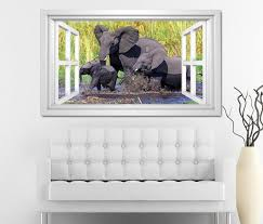 3d wandtattoo fenster elefant elefanten baby familie afrika tiere weiß wand aufkleber wanddurchbruch sticker selbstklebend wandbild wandsticker