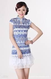 women u0027s cheongsam women u0027s lace dress tang suit cotton blouse bule