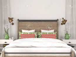 stilvolle moderne schlafzimmer mit bunten dekoration auf dem hintergrund einer weißen wand