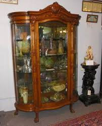 Antique Curio Cabinets Remarkable China Cabinet Curved Glass