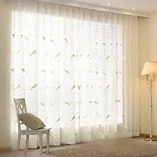 amazon com wpkira bird embroidered curtains half shading small