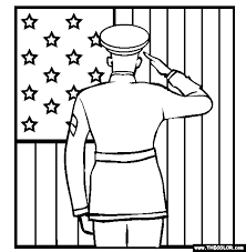 Soldier Saluting The Flag Online Coloring Page Salute Veterans Day