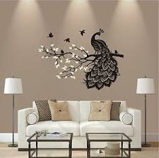 details zu wandtattoo 2 farbig pfau auf ast vogel wohnzimmer deko flur wandaufkleber ht 458
