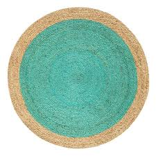 Green Jute Rug by Oculus Handmade Round Jute Rug Natural And Turquoise 6ft