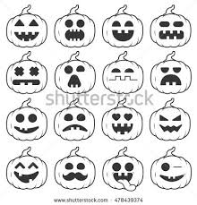 Devil Emoji Pumpkin Carving by Abstract Funny Flat Style Halloween Emoji Stock Vector 496957240
