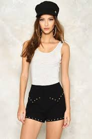 tina studded high waisted shorts shop clothes at nasty gal
