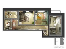 104 Two Bedroom Apartment Design 3 3d Floor Plan Elena Bondina