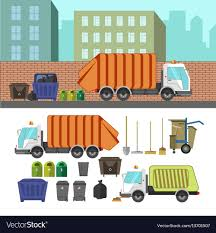 100 Rubbish Truck Process Of Taking Of Garbage With Rubbish Truck Vector Image