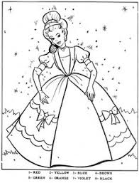 Color By Number Cinderella Coloring Book PagesVintage