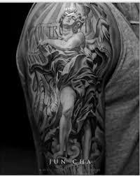 Nice Angel Sleeve Tattoo On Right Half