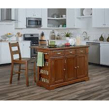 Kitchen Island Ls Vintage Oak Kitchen Island With Granite Inlay Top And Two Matching Stools