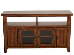 Two Glass Door Country Entertainment Console in Medium Brown