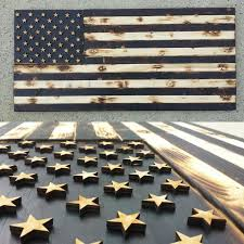 Rustic Firefighter Black White Wood Flag With Burnt Finish