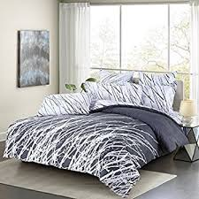 Amazon Gray and White Meridian 3 piece Full Queen forter