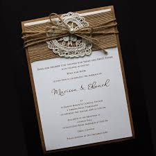 Lovely Invitation Using Kraft Stock With Vintage Lace Heart Natural Hessian And Twine Finished A Pearl Stud