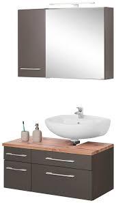 held möbel badmöbel set davos 3 tlg spiegelschrank mit led beleuchtung hängeschrank und waschbeckenunterschrank kaufen otto