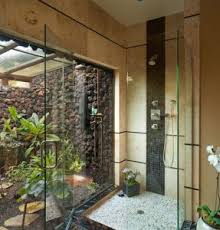 Combo Glass Shower For Indoor Outdoor Design Also Side By Connection And Pebble Flooring Styles Step Stone Decor